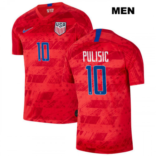 Men's USA #10 Christian Pulisic Red Home Soccer Player Jersey