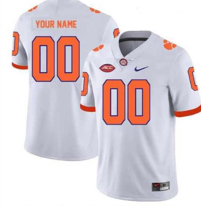 Men's Clemson Tigers White Custom College Football Stitched Jersey