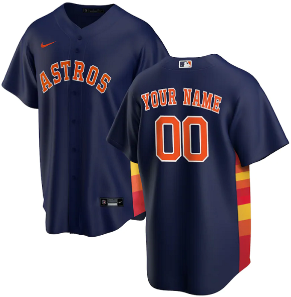Men's Houston Astros Customized Navy Stitched MLB Jersey