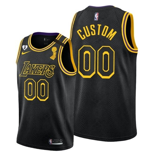 Men's Los Angeles Lakers 2020 Customized Black NBA Finals Champions With Gigi Patch Stitched Jersey