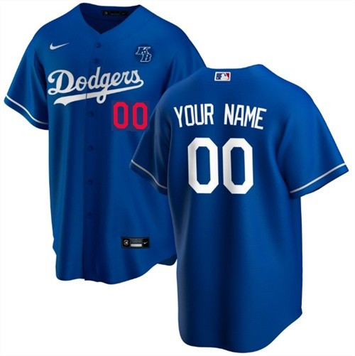 Youth Los Angeles Dodgers Customized Blue With KB Patch Stitched MLB Jersey