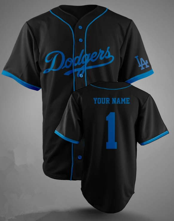 Men's Los Angeles Dodgers Customized Black Stitched MLB Jersey