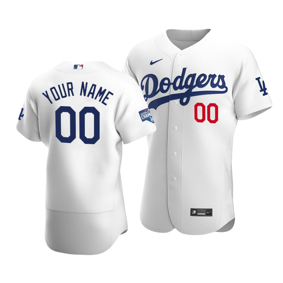 Men's Los Angeles Dodgers Customized White 2020 World Series Champions Home Patch Flex Base Stitched Jersey