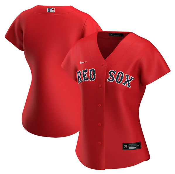 Women's Boston Red Sox Customized Red Stitched MLB Jersey(Run Small)