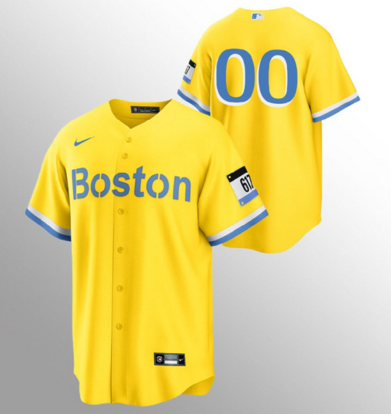Men's Boston Red Sox Customized Gold Light Blue 2021 City Connect Stitched MLB Jersey