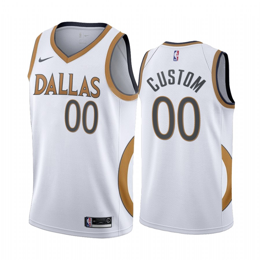 Men's Dallas Mavericks 2020 White City Edition Customized Stitched NBA Jersey