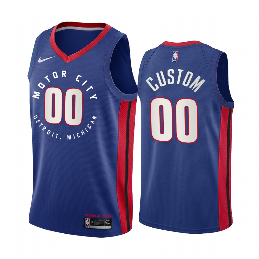 Men's Detroit Pistons 2020 Blue City Edition Customized Stitched NBA Jersey