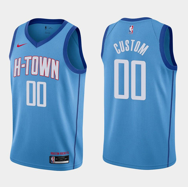 Men's Houston Rockets Customized Blue 2020/21City Edition Swingman Stitched NBA Jersey