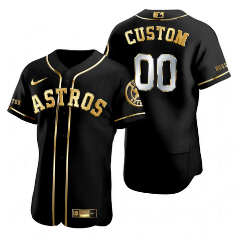 Men's Houston Astros Customized Black Golden Edition Stitched MLB Jersey