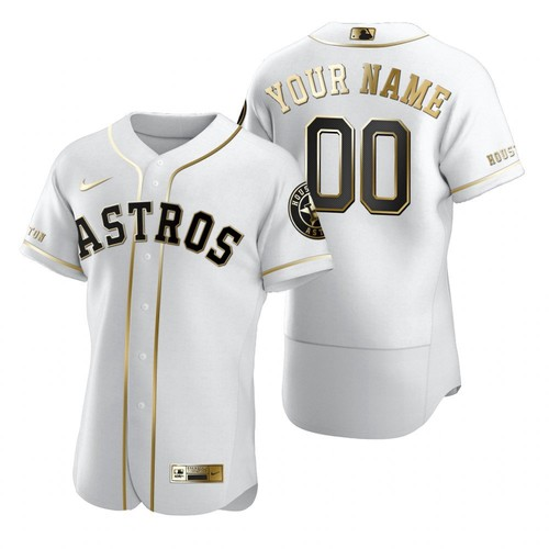 Men's Houston Astros Customized White Golden Edition Stitched MLB Jersey