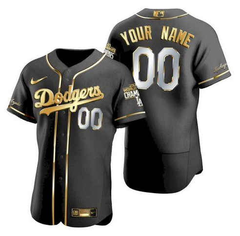 Men's Los Angeles Dodgers Customized Black Gold 2020 World Series Champions Flex Base Stitched Jersey