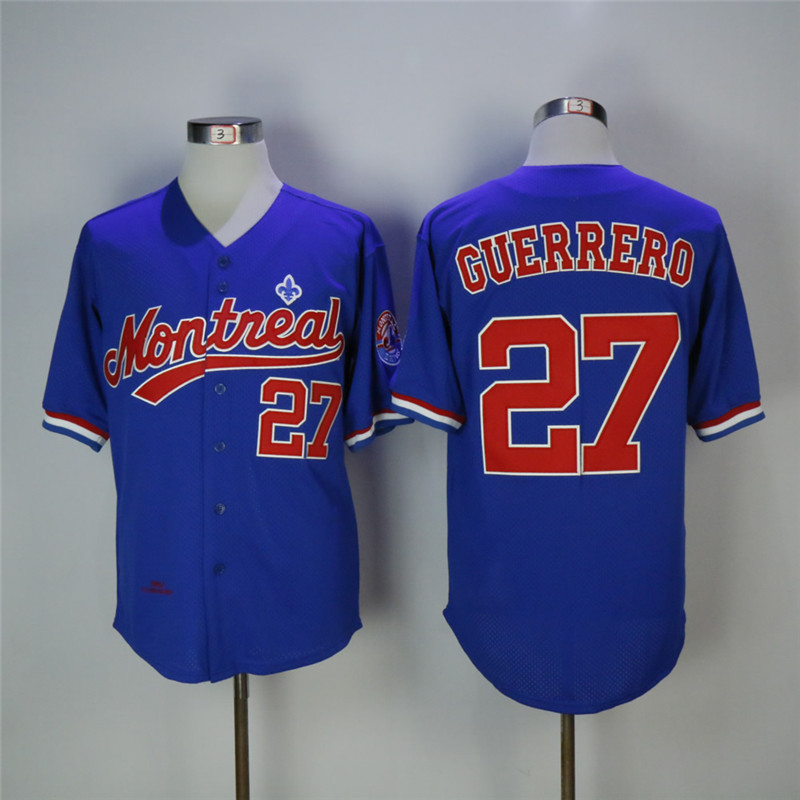 Men's Montreal Expos #27 Vladimir Guerrero Blue Cooperstown Collection Stitched MLB Jersey