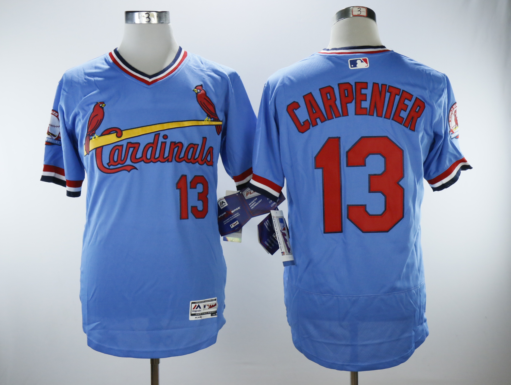 Men's St.Louis Cardinals #13 Matt Carpenter Light Blue Cooperstown Collection Flexbase Stitched MLB Jersey