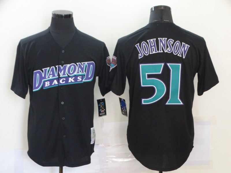 Men's Arizona Diamondbacks #51 Randy Johnson Black Throwback Cool Base Stitched Jersey