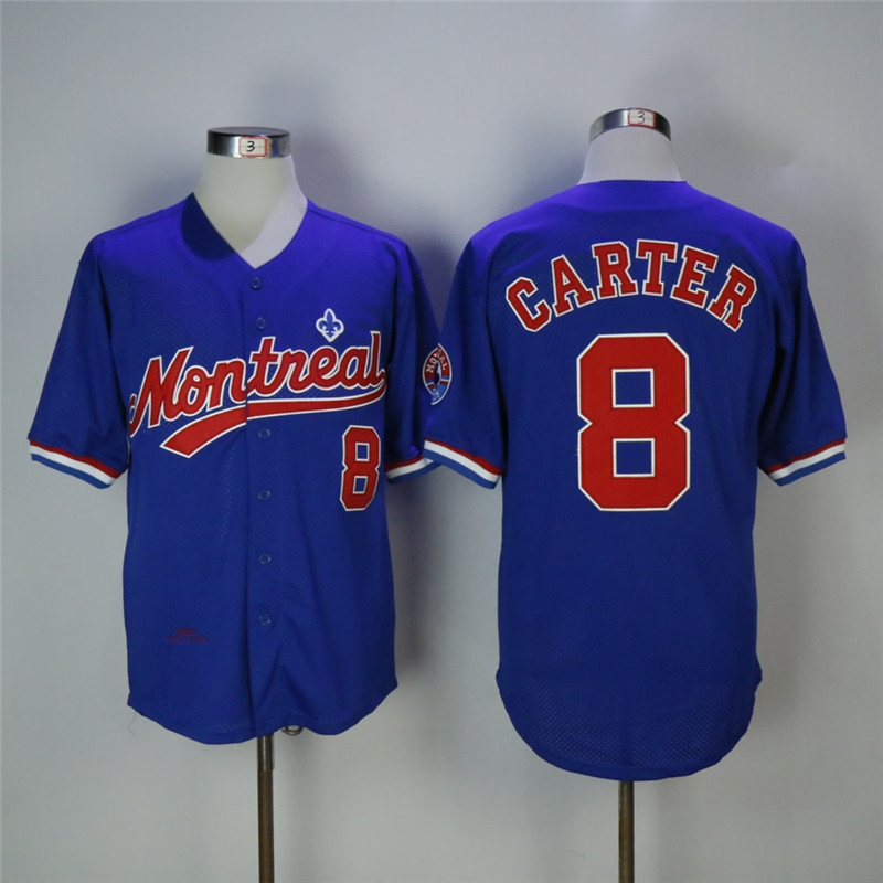 Men's Montreal Expos #8 Gary Carter Blue Cooperstown Collection Mesh Batting Practice Stitched MLB Jersey