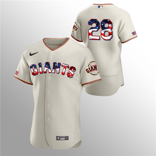 Men's San Francisco Giants #28 Buster Posey Cream 2020 Stars & Stripes Flex Base Stitched Jersey
