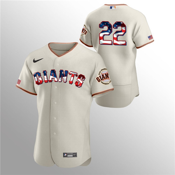 Men's San Francisco Giants #22 Will Clark Cream 2020 Stars & Stripes Flex Base Stitched Jerse