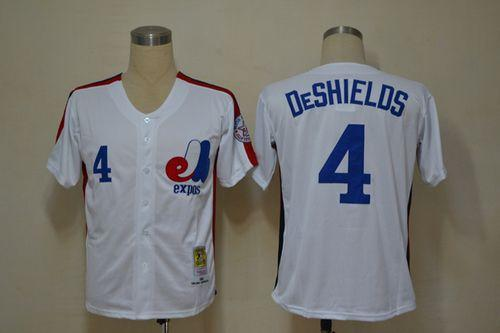 Mitchell And Ness Expos #4 Delino Deshields White Throwback Stitched MLB Jersey