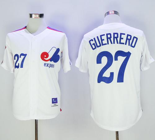 Mitchell And Ness Expos #27 Vladimir Guerrero White Throwback Stitched MLB Jersey