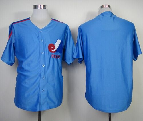 Mitchell And Ness Expos Blank Blue Throwback Stitched MLB Jersey