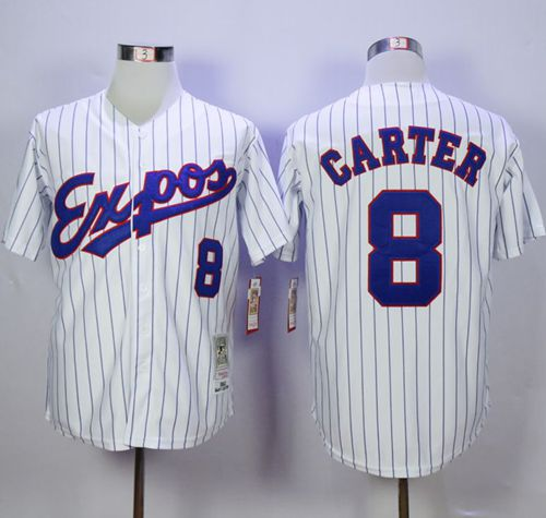 Mitchell And Ness 1982 Expos #8 Gary Carter White(Black Strip) Throwback Stitched MLB Jersey