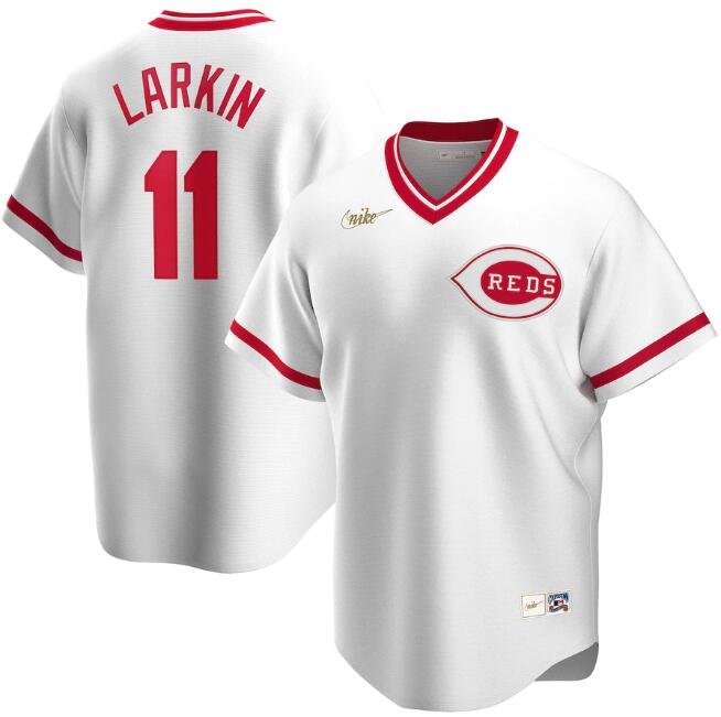Men's Cincinnati Reds #11 Barry Larkin New White Cool Base Stitched Jersey