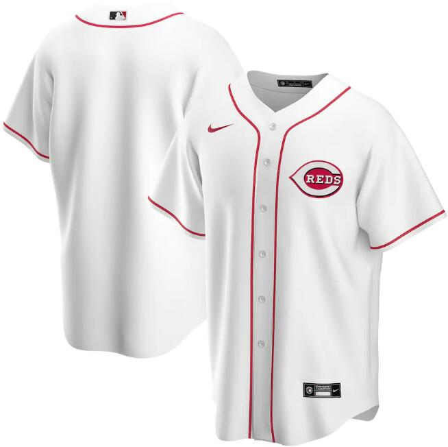 Men's Cincinnati Reds Blank White Cool Base Stitched Jersey