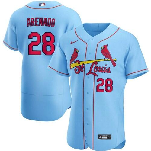 Men's St. Louis Cardinals #28 Nolan Arenado Blue Flex Base Stitched Jersey