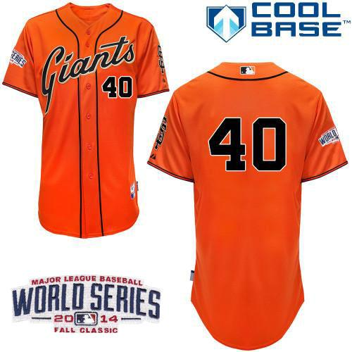Giants #40 Madison Bumgarner Orange Cool Base W/2014 World Series Patch Stitched MLB Jersey