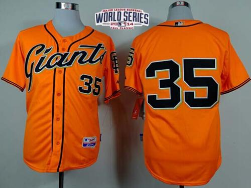 Giants #35 Brandon Crawford Orange Alternate Cool Base W/2014 World Series Patch Stitched MLB Jersey