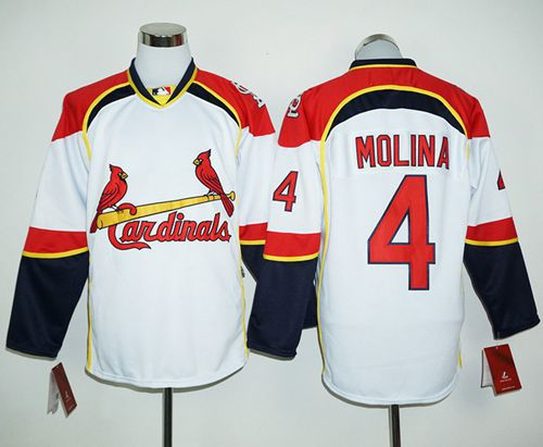 Cardinals #4 Yadier Molina White/Red Long Sleeve Stitched MLB Jersey
