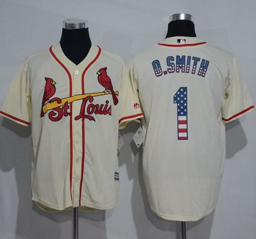 Cardinals #1 Ozzie Smith Cream USA Flag Fashion Stitched MLB Jersey