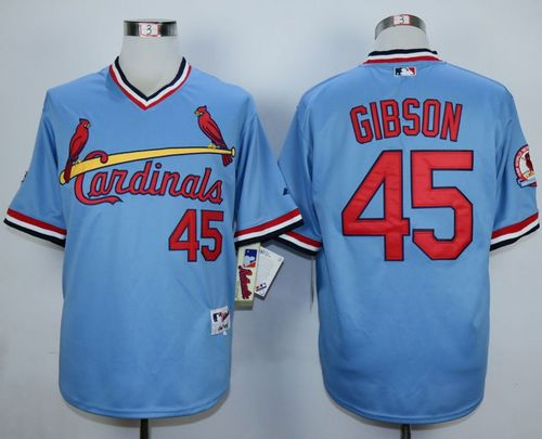Cardinals #45 Bob Gibson Blue 1982 Turn Back The Clock Stitched MLB Jersey