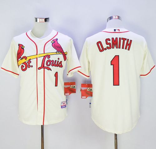 Cardinals #1 Ozzie Smith Cream Cool Base Stitched MLB Jersey