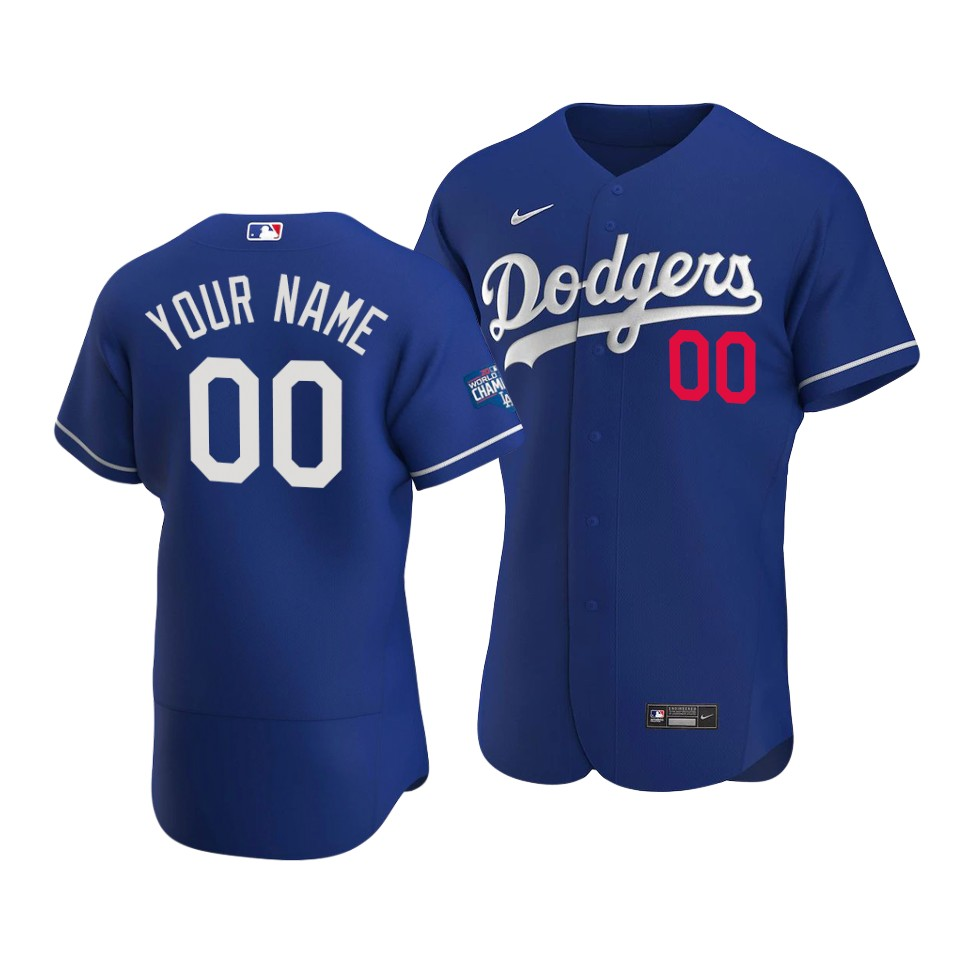 Men's Los Angeles Dodgers Active Player Royal 2020 World Series Champions Home Patch Flex Base Stitched Jersey