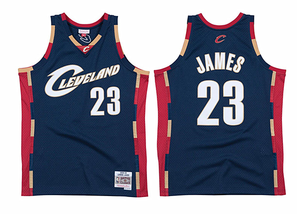 Men's Cleveland Cavaliers #23 LeBron James Navy 2008-09 City Edition Stitched Jersey