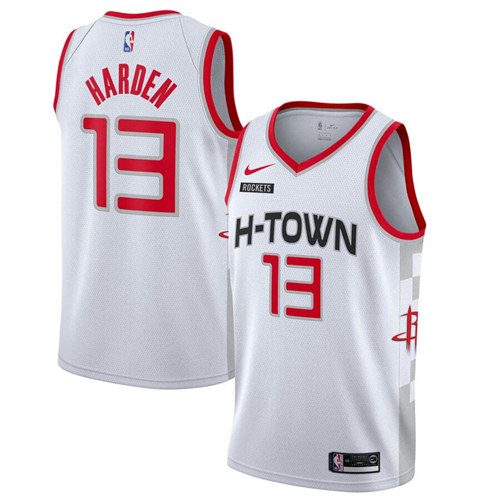 Men's Houston Rockets #13 James Harden White City Edition Stitched NBA Jersey