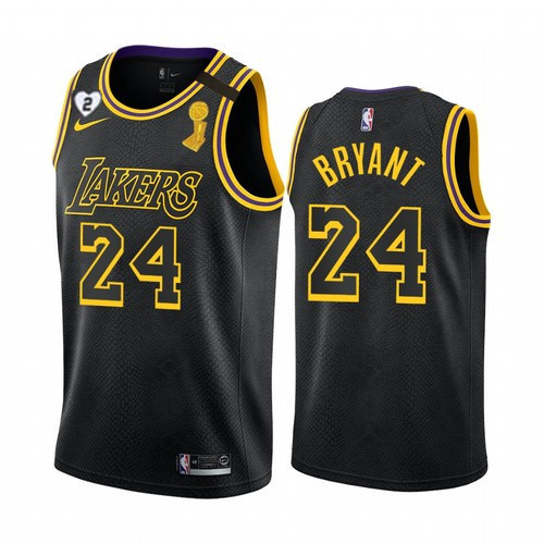 Men's Los Angeles Lakers #24 Kobe Bryant 2020 Black NBA Finals Champions With Gigi Patch Mamba Stitched Jersey
