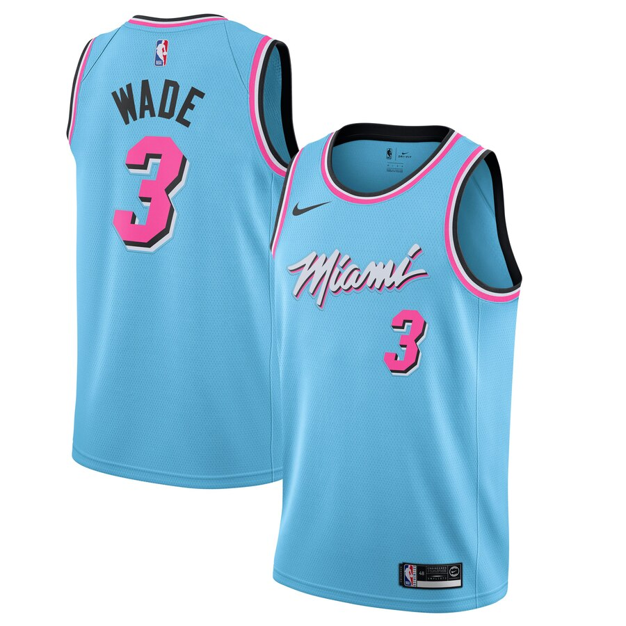 Men's Miami Heat #3 Dwyane Wade Blue 2019 City Edition Stitched NBA Jersey
