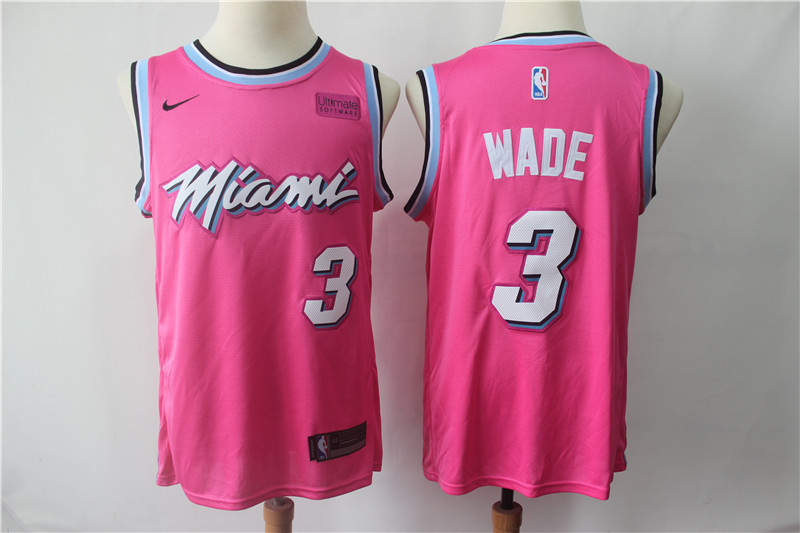 Men's Miami Heat #3 Dwyane Wade Pink 2018/19 Earned Edition Swingman Stitched NBA Jersey