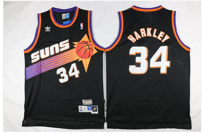 Men's Phoenix Suns #34 Charles Barkley Black Throwback Stitched Jersey
