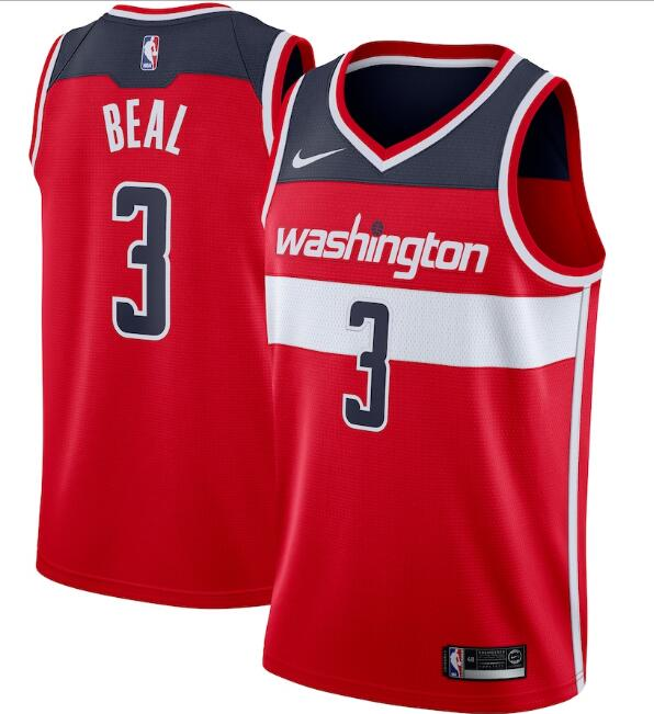 Men's Washington Wizards #3 Bradley Beal Red Icon Edition Swingman Stitched Jersey