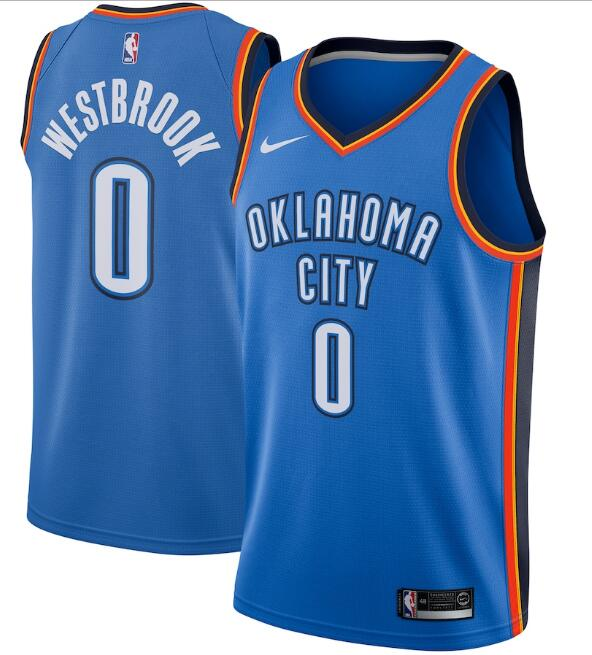 Men's Oklahoma City Thunder #0 Russell Westbrook Blue Icon Edition Stitched NBA Jersey