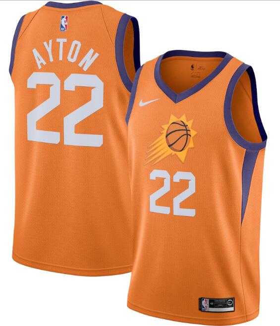 Men's Phoenix Suns #22 Deandre Ayton Orange Statement Edition Stitched Jersey