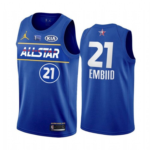 Men's 2021 All-Star #21 Joel Embiid Blue Eastern Conference Stitched NBA Jersey