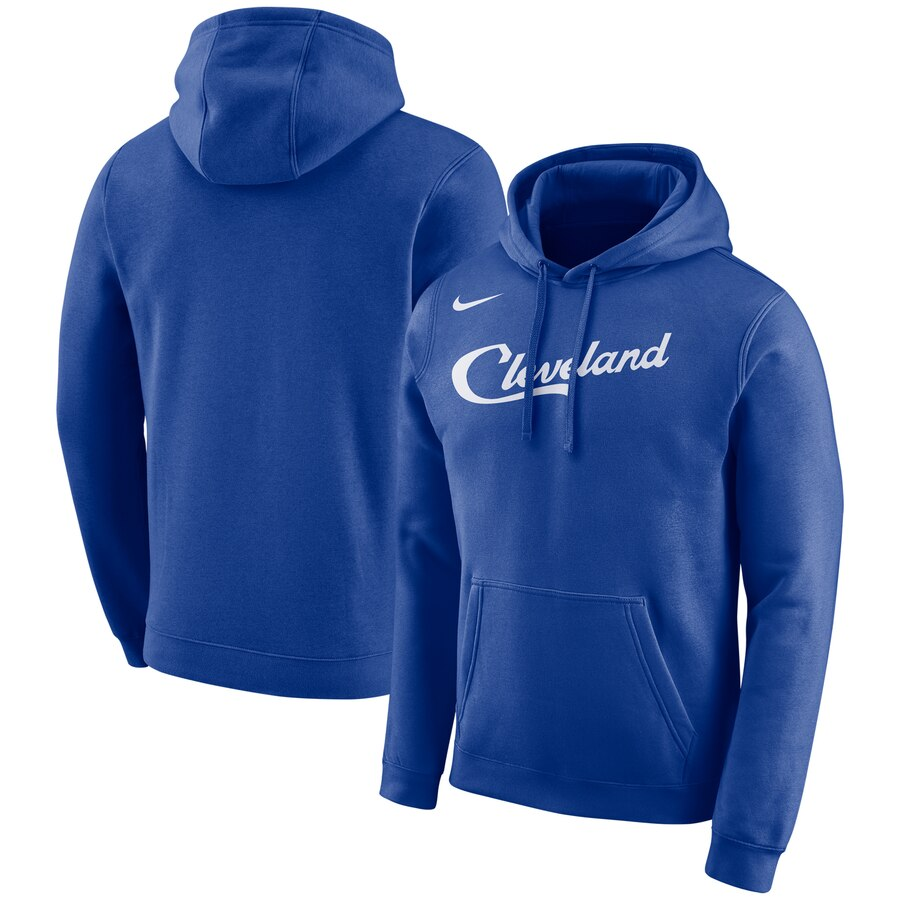 Men's Cleveland Cavaliers Blue City Edition Logo Essential Pullover Hoodie