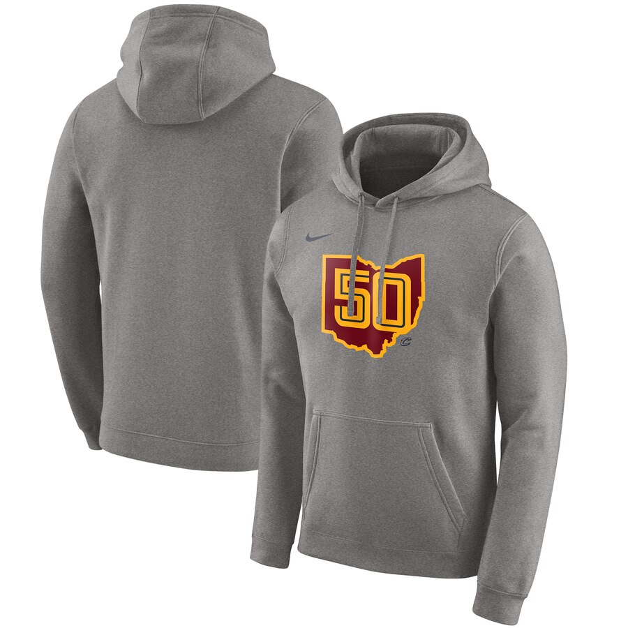 Men's Cleveland Cavaliers Heather Gray City Edition Logo Essential Pullover Hoodie