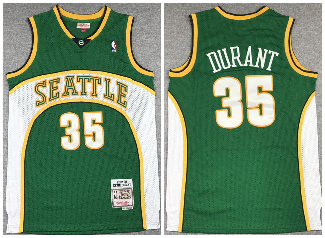 Men's Oklahoma City Thunder #35 Kevin Durant Green 2007-08 Throwback SuperSonics Stitched Jersey