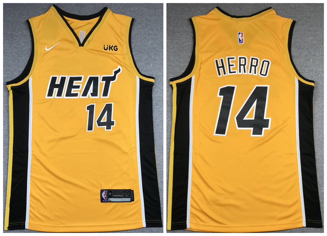 Men's Miami Heat #14 Tyler Herro Gold Stitched NBA Jersey