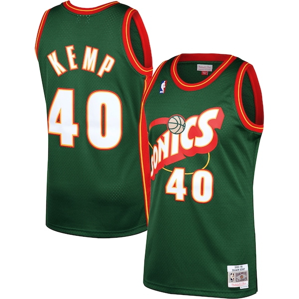 Men's Oklahoma City Thunder #40 Shawn Kemp Green Throwback SuperSonics Stitched Jersey